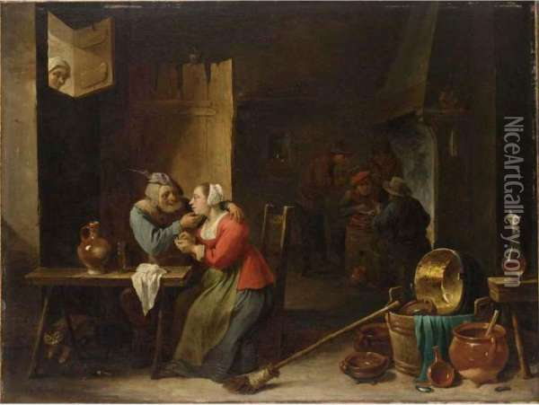 An Interior Of An Inn With An  Amorous Couple At A Table, And Figures Smoking Near A Fireplace In The  Background, A Woman Watching From A Window Above Oil Painting - David The Younger Teniers