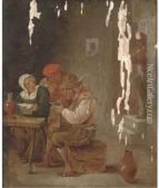 Boors Drinking And Smoking In A Tavern Oil Painting - David The Younger Teniers