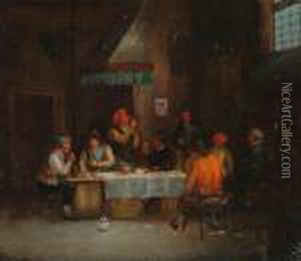 Peasants In A Tavern Interior. Oil Painting - David The Younger Teniers