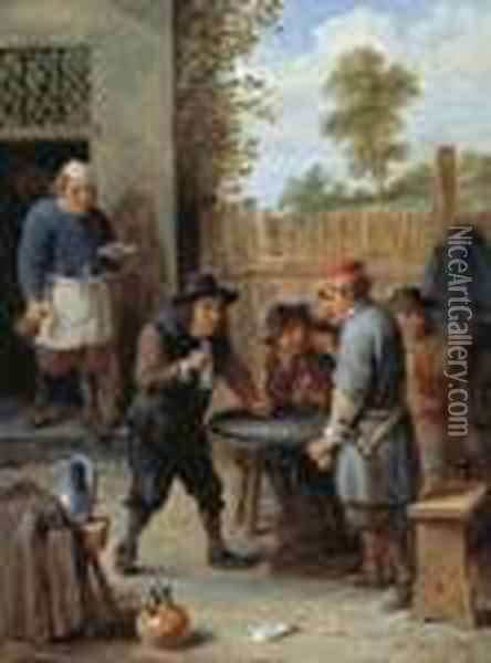 Peasants Playing Dice Outside An Inn Oil Painting - David The Younger Teniers
