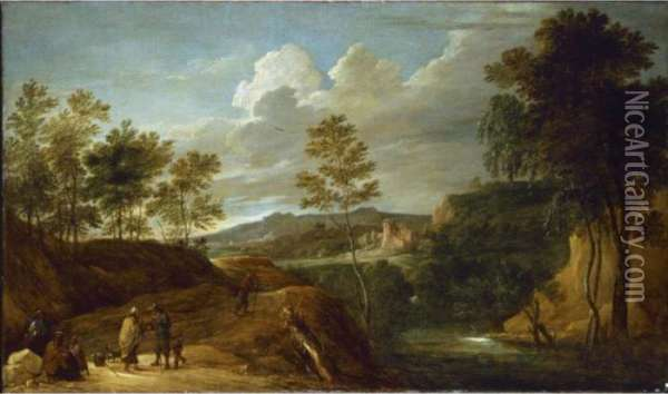 A Hilly Landscape With Gypsies And A Fortune Teller On A Rocky Road Oil Painting - David The Younger Teniers
