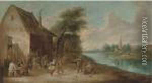 A River Landscape With Peasants Drinking And Merrymaking Outisde A Tavern Oil Painting - David The Younger Teniers