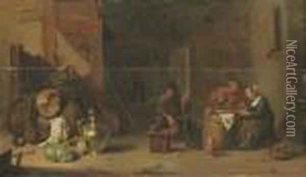 Amorous Peasants Eating Oysters And Another Peasant Smoking A Pipe In A Barn Oil Painting - David The Younger Teniers
