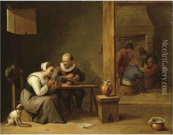 A Couple Smoking In An Inn,  Other Peasants Playing Cards In The Background Near A Fireplace Oil Painting - David The Younger Teniers