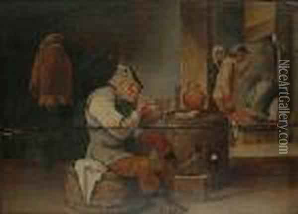 Topers In A Tavern Interior Oil Painting - David The Younger Teniers