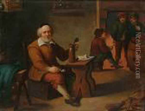 Topers In A Tavern Interior; A Game Of Draughts Oil Painting - David The Younger Teniers