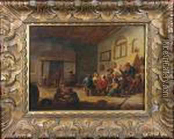 A Dutch Interior Scene With Numerous Figures Oil Painting - David The Younger Teniers