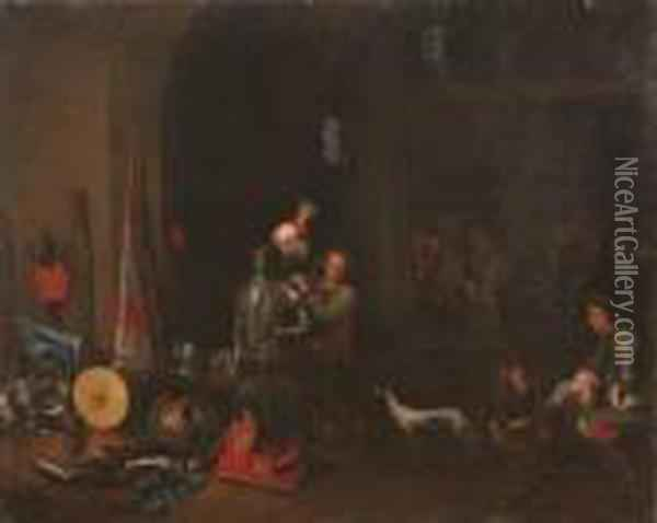The Interior Of A Guardroom With Militiament And Boors Playing Cards Oil Painting - David The Younger Teniers