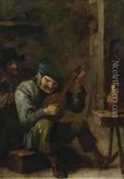 Peasants Making Music In An Interior, With A Roemer Of Wine On Astool Oil Painting - David The Younger Teniers