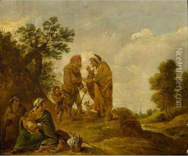 A Gipsy Family Oil Painting - David The Younger Teniers