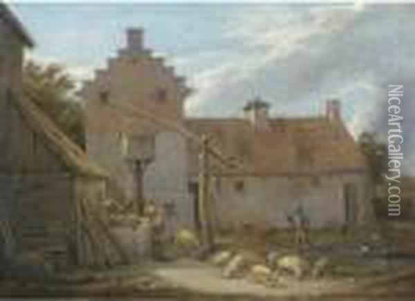 A Farmyard With Pigs And Ducks By A Pool, With Peasants At A Nearbywell Oil Painting - David The Younger Teniers