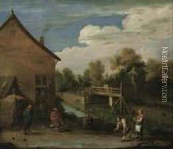 Kegeln Vor Dem Haus. Oil Painting - David The Younger Teniers