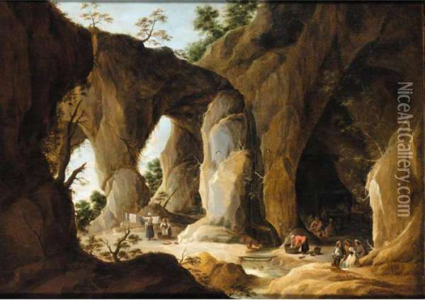 A Cavernous Landscape With A Gypsy Encampment Beyond Oil Painting - David The Younger Teniers