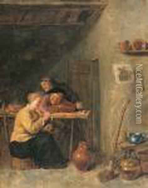 Peasants And A Serving Maid In A Tavern Oil Painting - David The Younger Teniers