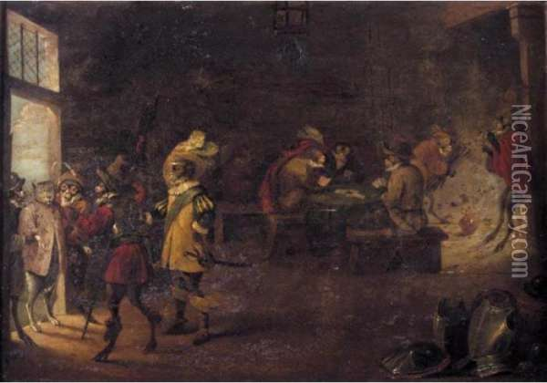 A Monkey Guard House Oil Painting - David The Younger Teniers