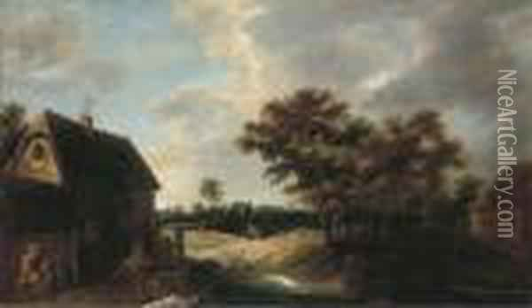 A Wooded Village Landscape With A Peasant Resting Outside Afarmhouse Oil Painting - David The Younger Teniers