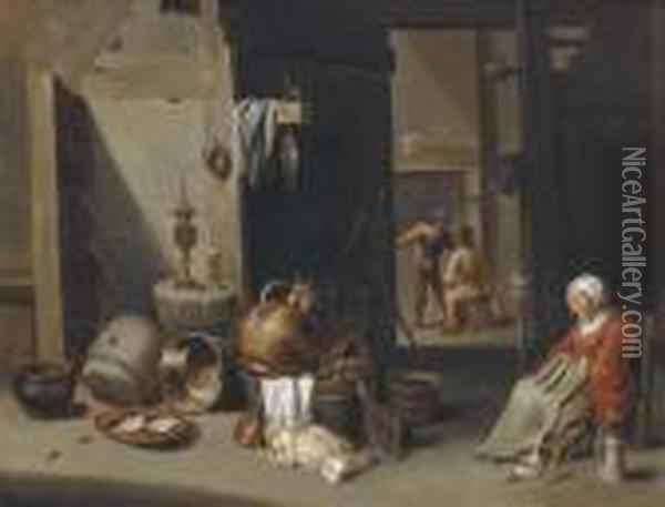 A Farmhouse Interior With A Woman Asleep On A Chair Oil Painting - David The Younger Teniers