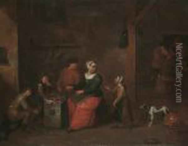 A Peasant Family In An Interior Oil Painting - David The Younger Teniers