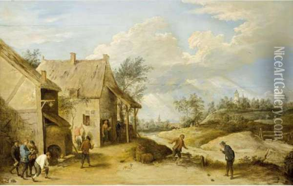 A Village Scene With Peasants Bowling Outside An Inn, A View Of A Church Beyond Oil Painting - David The Younger Teniers