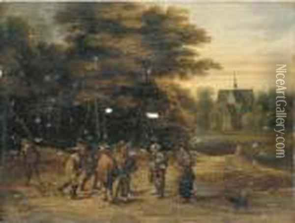 Soldiers With Pilgrims In A Wooded Landscape Near A Church Oil Painting - David The Younger Teniers
