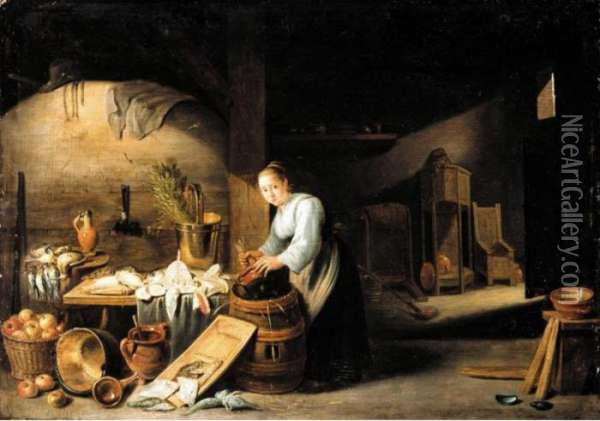 A Kitchen Interior With A  Servant Woman Washing A Pot, Some Fish And Fowl On The Table Nearby Oil Painting - David The Younger Teniers