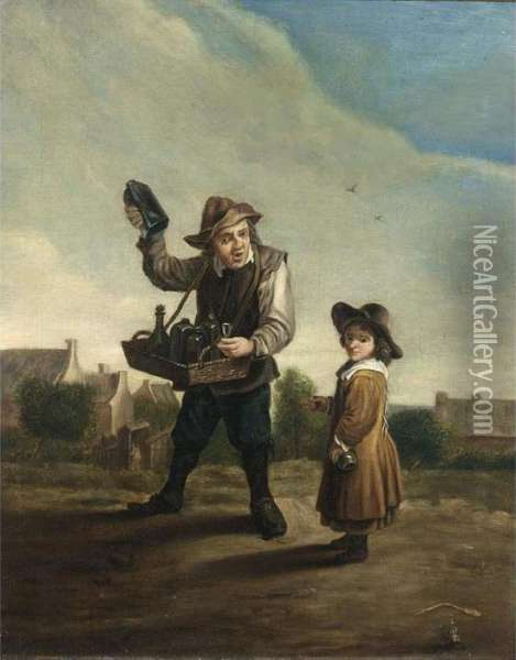 An Alchemist Travelling With A Boy Oil Painting - David The Younger Teniers