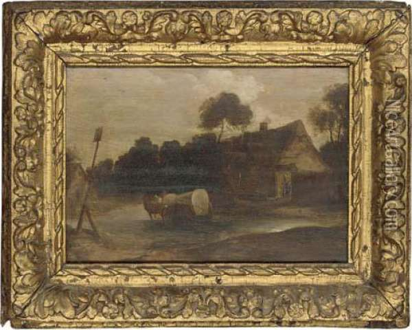 A Horse And Cart Fording A River Oil Painting - David The Younger Teniers