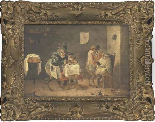 A Monkey Barber Shop Oil Painting - David The Younger Teniers