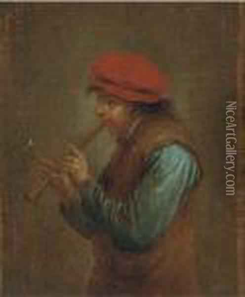 The Flute Player Oil Painting - David The Younger Teniers