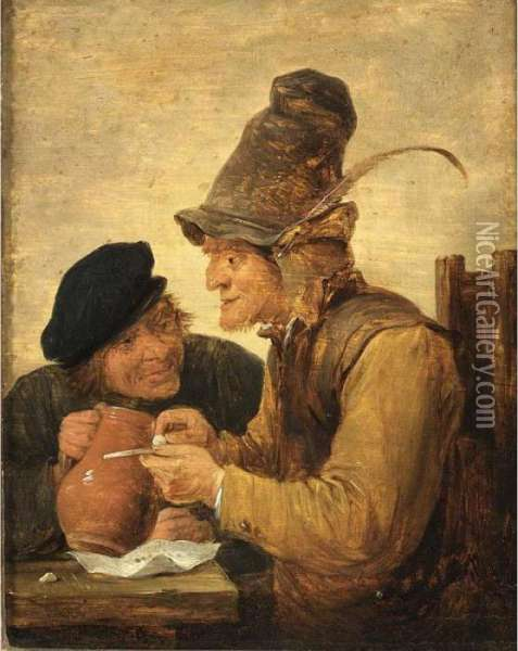 Two Peasants Drinking At A Table Oil Painting - David The Younger Teniers