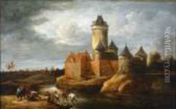 Landscape With Castle And Figures Oil Painting - David The Younger Teniers