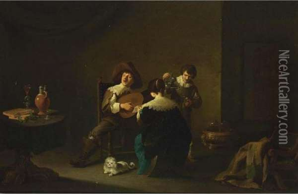 An Interior With A Gentleman  Playing A Lute And A Lady Singing, Together With A Servant Pouring Wine  Nearby, And A White Dog In The Foreground Oil Painting - David The Younger Teniers
