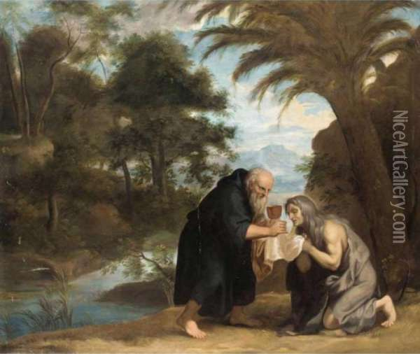 Saint Mary Of Egypt Receiving Her Last Communion From Zosimus Oil Painting - David The Younger Teniers