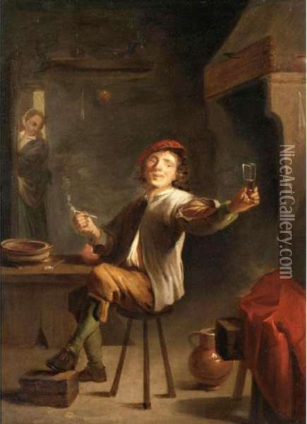 An Interior With A Happy Toper And A Lady Beyond Oil Painting - David The Younger Teniers