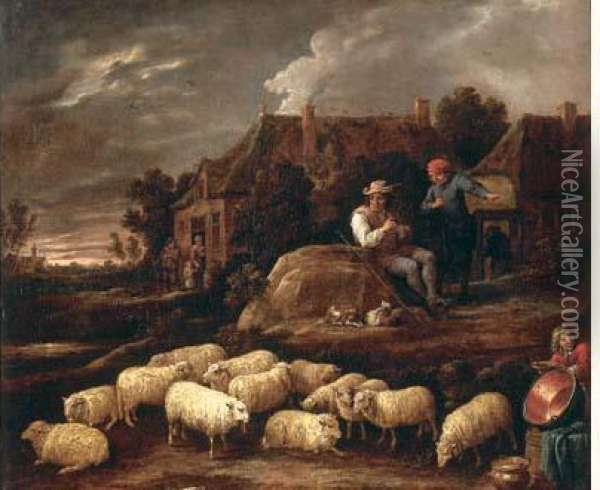 Bergers Pres De L'auberge Oil Painting - David The Younger Teniers