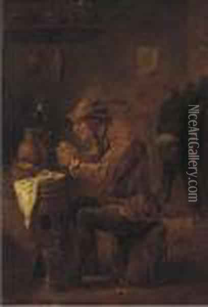 A Peasant Smoking In A Tavern Oil Painting - David The Younger Teniers
