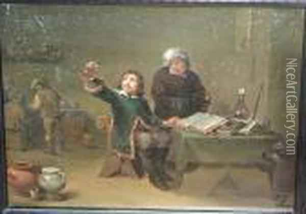A Chemist Working In His Study Oil Painting - David The Younger Teniers