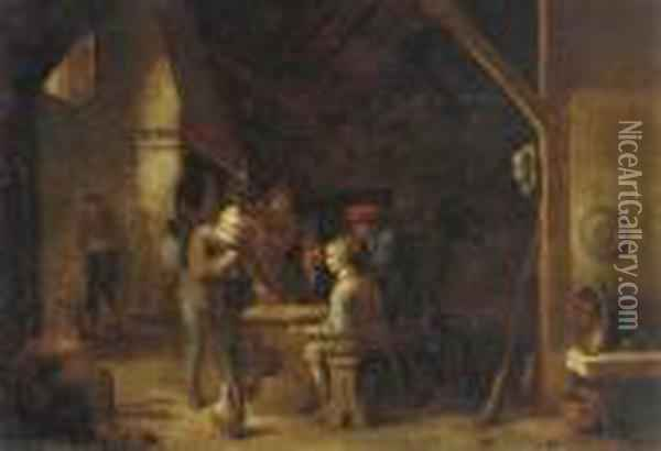 The Interior Of An Inn With Peasants Smoking And Conversing By Atable Oil Painting - David The Younger Teniers