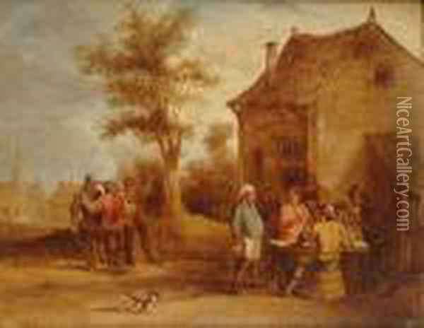 A Village With Peasants Drinking And Conversing Outside; Peasants Dancing Outside An Inn Oil Painting - David The Younger Teniers