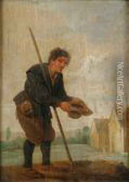 A Beggar In A Landscape; And A Traveller In A Landscape Oil Painting - David The Younger Teniers