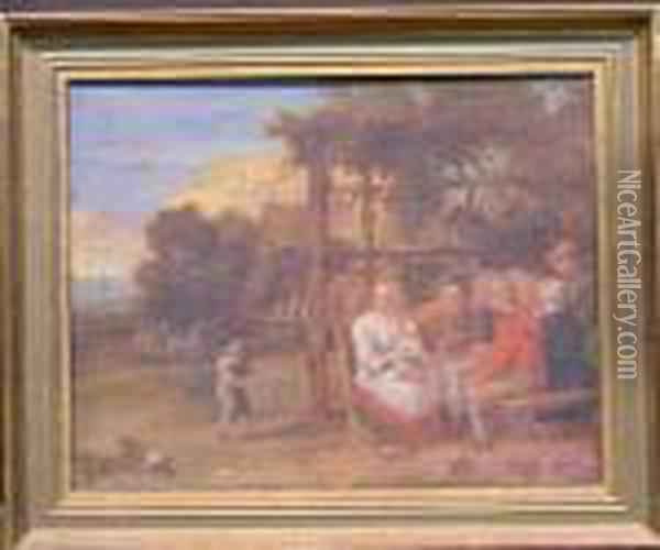 Family Outside A Tavern Oil Painting - David The Younger Teniers