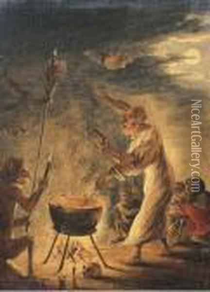 A Coven Of Witches Oil Painting - David The Younger Teniers