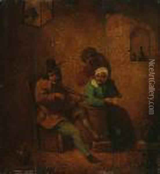 Skrzypek W Karczmie Oil Painting - David The Younger Teniers