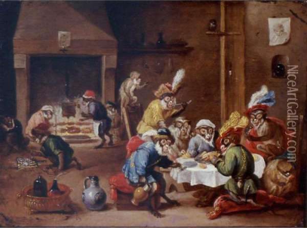 Interior With Monkeys Seated 