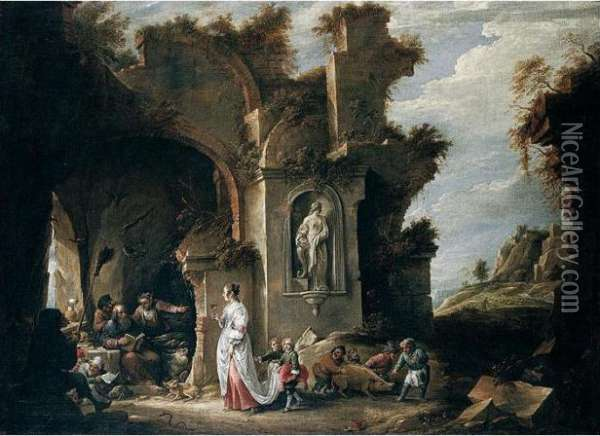Signed Lower Right: Oil Painting - David The Younger Teniers