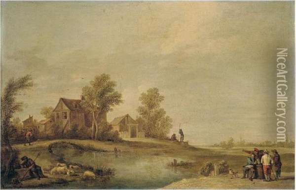 A Landscape With A Herdsman  Resting With His Flock By A River, Peasants Drinking On The Opposite  Bank, And A Peasant Crossing A Bridge Towards A Village Beyond Oil Painting - David The Younger Teniers