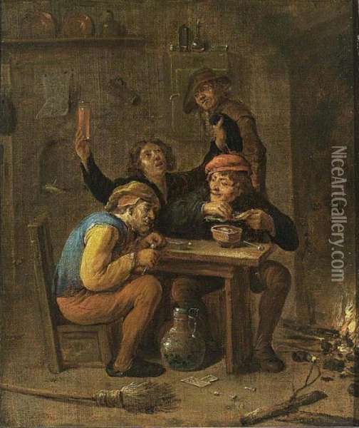 Peasants Smoking And Drinking Near A Fireplace Oil Painting - David The Younger Teniers