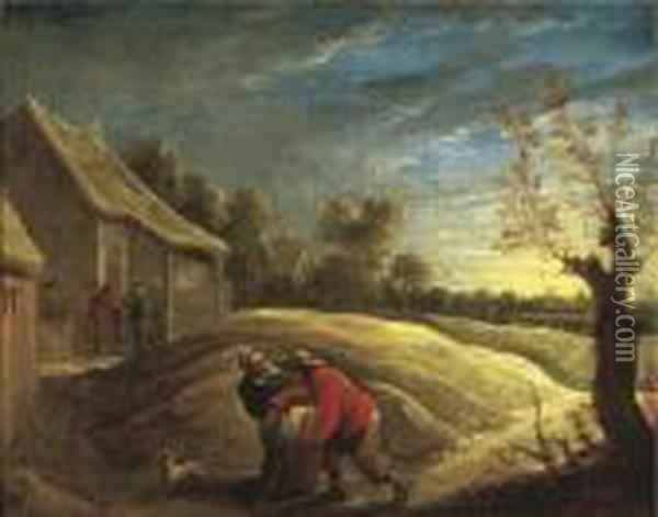 The Drunken Husband Oil Painting - David The Younger Teniers