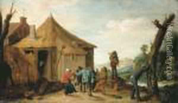 Peasants Merrymaking By A Cottage, A River Beyond Oil Painting - David The Younger Teniers