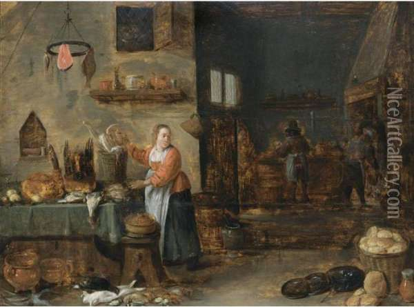 A Kitchen Interior With A Maid  Holding A Basket Near A Table Laid With Poultry And Pastries Oil Painting - David The Younger Teniers